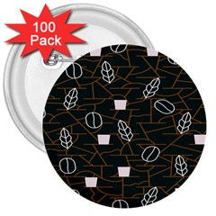 Espresso Cofee Glass Line Chevron 3  Buttons (100 Pack)  by Mariart
