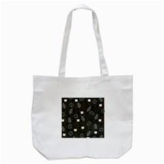 Espresso Cofee Glass Line Chevron Tote Bag (white)