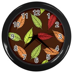 Autumn Leaves Pattern Wall Clocks (black) by Mariart