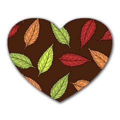 Autumn Leaves Pattern Heart Mousepads by Mariart