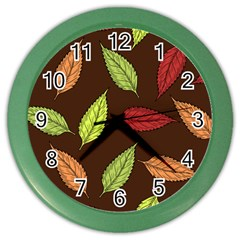 Autumn Leaves Pattern Color Wall Clocks by Mariart