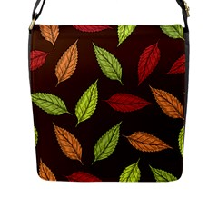Autumn Leaves Pattern Flap Messenger Bag (l)  by Mariart