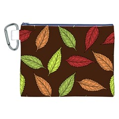 Autumn Leaves Pattern Canvas Cosmetic Bag (xxl) by Mariart