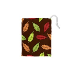 Autumn Leaves Pattern Drawstring Pouches (xs)  by Mariart