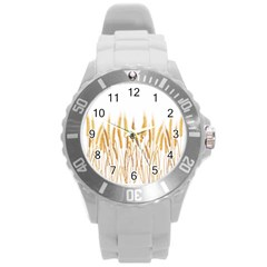 Wheat Plants Round Plastic Sport Watch (l) by Mariart