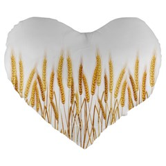 Wheat Plants Large 19  Premium Heart Shape Cushions by Mariart