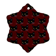 Face Cat Animals Red Ornament (snowflake) by Mariart