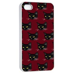 Face Cat Animals Red Apple Iphone 4/4s Seamless Case (white) by Mariart