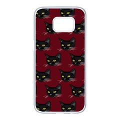 Face Cat Animals Red Samsung Galaxy S7 Edge White Seamless Case by Mariart