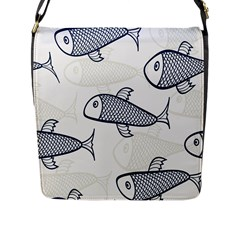 Fish Graphic Flooring Blue Seaworld Swim Water Flap Messenger Bag (l)  by Mariart