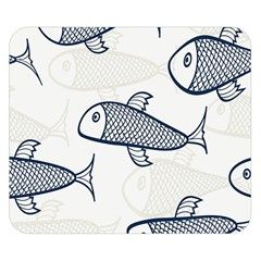 Fish Graphic Flooring Blue Seaworld Swim Water Double Sided Flano Blanket (small)