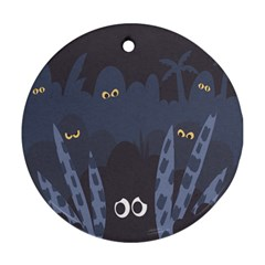 Ghost Halloween Eye Night Sinister Ornament (round) by Mariart
