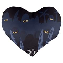 Ghost Halloween Eye Night Sinister Large 19  Premium Heart Shape Cushions