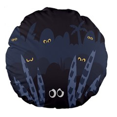 Ghost Halloween Eye Night Sinister Large 18  Premium Flano Round Cushions by Mariart