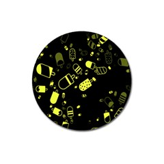 Ice Cream Cool Yellow Magnet 3  (round) by Mariart
