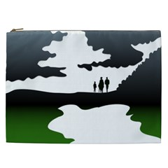 Landscape Silhouette Clipart Kid Abstract Family Natural Green White Cosmetic Bag (xxl)  by Mariart