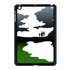 Landscape Silhouette Clipart Kid Abstract Family Natural Green White Apple Ipad Mini Case (black) by Mariart