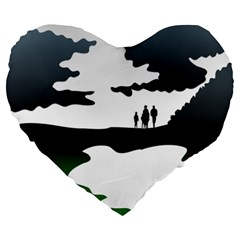 Landscape Silhouette Clipart Kid Abstract Family Natural Green White Large 19  Premium Heart Shape Cushions by Mariart