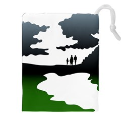 Landscape Silhouette Clipart Kid Abstract Family Natural Green White Drawstring Pouches (xxl) by Mariart