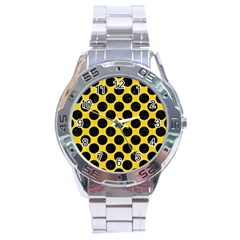 Circles2 Black Marble & Yellow Colored Pencil Stainless Steel Analogue Watch by trendistuff