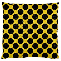 Circles2 Black Marble & Yellow Colored Pencil Large Flano Cushion Case (two Sides) by trendistuff