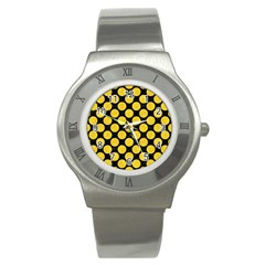 Circles2 Black Marble & Yellow Colored Pencil (r) Stainless Steel Watch