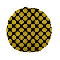 Circles2 Black Marble & Yellow Colored Pencil (r) Standard 15  Premium Flano Round Cushions by trendistuff