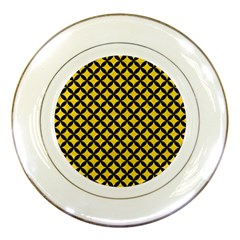 Circles3 Black Marble & Yellow Colored Pencil Porcelain Plates by trendistuff