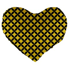 Circles3 Black Marble & Yellow Colored Pencil Large 19  Premium Flano Heart Shape Cushions by trendistuff