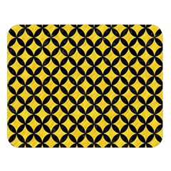Circles3 Black Marble & Yellow Colored Pencil Double Sided Flano Blanket (large)  by trendistuff