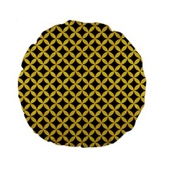 Circles3 Black Marble & Yellow Colored Pencil (r) Standard 15  Premium Flano Round Cushions by trendistuff