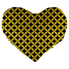 Circles3 Black Marble & Yellow Colored Pencil (r) Large 19  Premium Flano Heart Shape Cushions by trendistuff