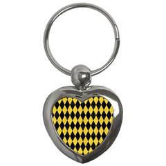 Diamond1 Black Marble & Yellow Colored Pencil Key Chains (heart)  by trendistuff