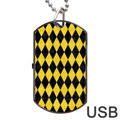 Diamond1 Black Marble & Yellow Colored Pencil Dog Tag Usb Flash (two Sides) by trendistuff