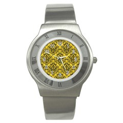 Damask1 Black Marble & Yellow Colored Pencil Stainless Steel Watch by trendistuff