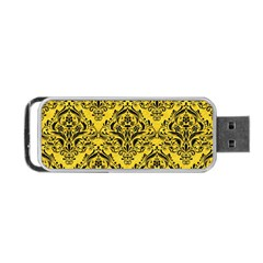 Damask1 Black Marble & Yellow Colored Pencil Portable Usb Flash (one Side) by trendistuff