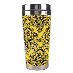 Damask1 Black Marble & Yellow Colored Pencil Stainless Steel Travel Tumblers
