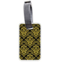 Damask1 Black Marble & Yellow Colored Pencil (r) Luggage Tags (two Sides) by trendistuff