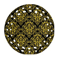 Damask1 Black Marble & Yellow Colored Pencil (r) Ornament (round Filigree) by trendistuff
