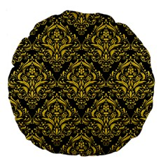 Damask1 Black Marble & Yellow Colored Pencil (r) Large 18  Premium Flano Round Cushions by trendistuff