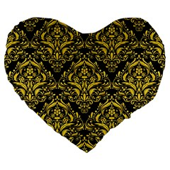 Damask1 Black Marble & Yellow Colored Pencil (r) Large 19  Premium Flano Heart Shape Cushions by trendistuff