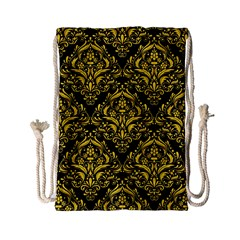 Damask1 Black Marble & Yellow Colored Pencil (r) Drawstring Bag (small) by trendistuff