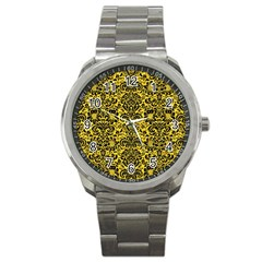 Damask2 Black Marble & Yellow Colored Pencil Sport Metal Watch by trendistuff