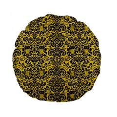 Damask2 Black Marble & Yellow Colored Pencil Standard 15  Premium Flano Round Cushions by trendistuff