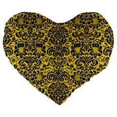 Damask2 Black Marble & Yellow Colored Pencil Large 19  Premium Flano Heart Shape Cushions by trendistuff