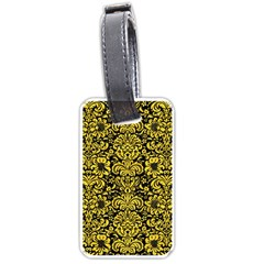 Damask2 Black Marble & Yellow Colored Pencil (r) Luggage Tags (two Sides) by trendistuff