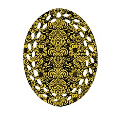 Damask2 Black Marble & Yellow Colored Pencil (r) Oval Filigree Ornament (two Sides) by trendistuff