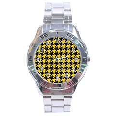 Houndstooth1 Black Marble & Yellow Colored Pencil Stainless Steel Analogue Watch by trendistuff
