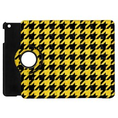 Houndstooth1 Black Marble & Yellow Colored Pencil Apple Ipad Mini Flip 360 Case by trendistuff