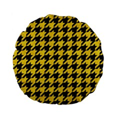 Houndstooth1 Black Marble & Yellow Colored Pencil Standard 15  Premium Flano Round Cushions by trendistuff